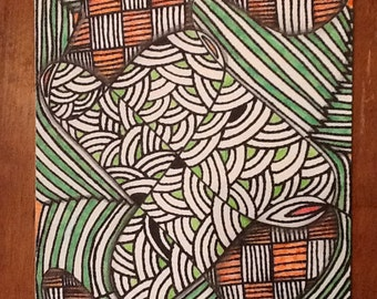 Bright green and orange Zentangle inspired art