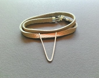 Leather Bracelet with silver triangle