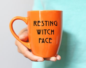 Resting Witch Face Mug - Halloween Coffee and Tea Mug - Halloween Drinkware - Seasonal Drinkware - Orange Mug with Black Font