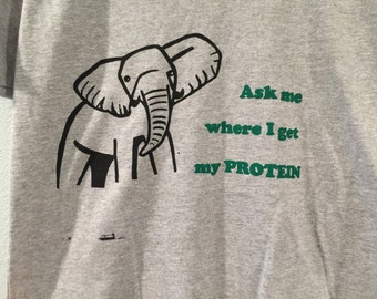 Vegan Ask Me Where I Get My Protein T-shirt Women's V-Neck Size Large