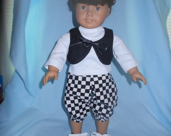 Black and White Checked Pants with White Tee with Black Vest and Shoes