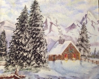 Log Cabin in a Winter Wonderland Painting