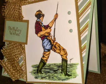 Happy Birthday, Fishing, Fly Fishing, Mens, Handcrafted Hand Painted Greeting Card
