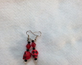 Red skull and Crystal earrings