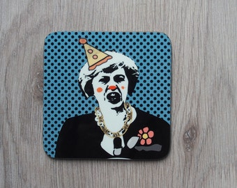 Theresa May coaster, quirky coaster, blue coaster, pop art coaster, new home gifts, clown coaster, humour coaster