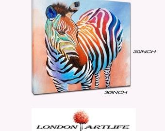 Zebra, colour full, oil painting on Canvas 30:30 inch  Modern