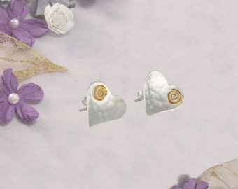 Silver Heart Studs With Gold Fill Detail