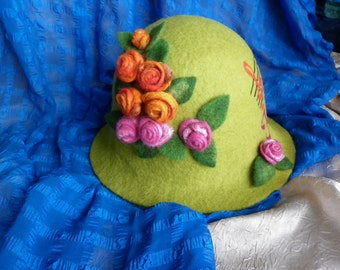 Green Fairy Hat Wool filzhut Felted Sauna Bath Woman Cap Lime Olive Flowers Roses Accessories Handmade Unique Gift Fresh Ones Hats and Caps