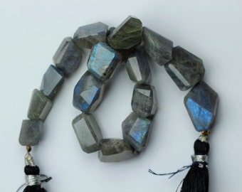 8 inch long strand faceted LABRADORITE nuggets beads 10 -- 18 mm