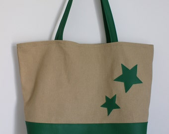 Cotton tote bag and camel leather with stars