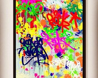 Multicolor paint Graffiti canvas