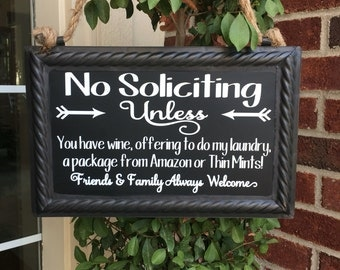 Image result for door with no soliciting sign