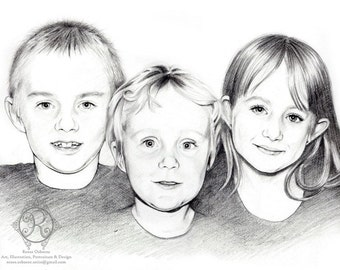 Custom Portrait THREE PEOPLE- Pencil Drawing