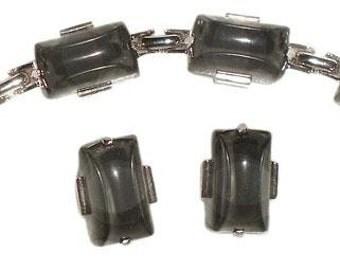 """7"""" Bracelet Silver Tone Vintage Jewelry Set, Clip On Earrings 1"""""""