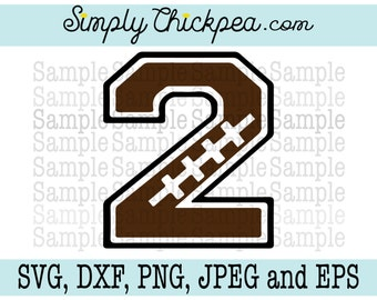 SVG, DXF, PNG, cutting file Jpeg and Eps: Football Varsity Number 2 Silhouette Cameo Cricut Cutting File or Iron On