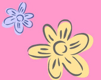 Two hand drawn flowers stencil