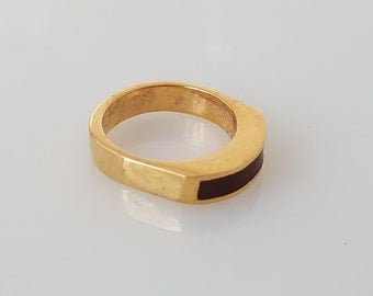 VALENTINES GIFT, Gold Plated Ring, Black and Gold Ring, 14k Yellow Gold Ring, Handmade Rings, Gold Ring 14k, Gold Rings For Women, Gift