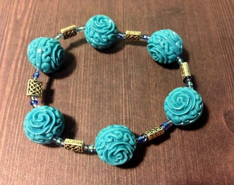 Blue Roses Celtic Beaded Stretch Bracelet