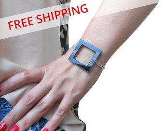 Black Square Acrylic Bracelet, Laser Cut Designer Jewelry, Geometric Perspex Bracelet, Unique Plastic Bracelet, Plexiglass Jewelry