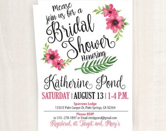 Pink Bridal Shower Invitation | Bridal Shower Printable | 5x7 Custom Bridal Shower Invitation | Invitation | Floral Bridal Shower Invitation