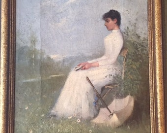 Antique 19th Century Oil Painting Signed and Dated 1888