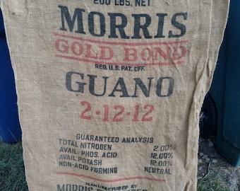Vintage Morris Gold Bond Burlap Fertilizer Bag/Greensboro, N.C.