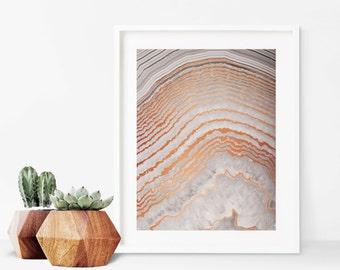 Gray Agate Copper Art Print - Instant Digital Download