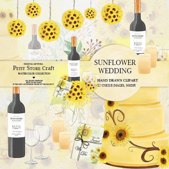 Sunflower wedding clipart watercolor painted clipart theme ...