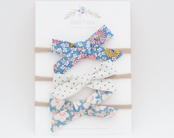 Rosalie Set, Floral Bows, Simple Bows, Hipster Bows, Baby Girl Bows, Baby Clip, Baby Gift, Baby Shower Gift, Baby Headband, Soft Headband