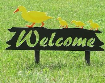 Ducks, Welcome Sign, Garden Art, Metal Art, Whimsical