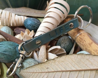 """Ready-to-Ship, Turquoise, Hand-Stamped, Vegetable-Tanned, Leather """"LIFE"""" Key Fob, Key Ring, Key Chain, Purse Charm, Bag Charm"""