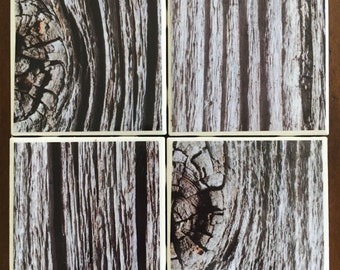 Wood design tile coaster set