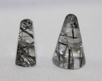 Tourmalinated quartz bullets, 13.8cts