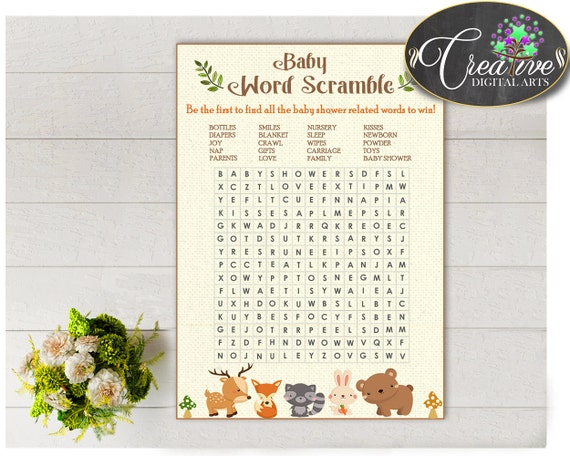 Woodland Baby Shower WORD SEARCH Game With Forest Animals