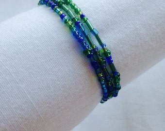 Multicolor Beaded Triple Coil Bracelet (Blues and Greens)