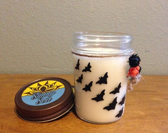 Halloween flying bats scented candle 8oz