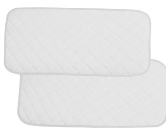 Bamboo Changing Pad Liners Waterproof Washable Protector For Diaper Change Pad Travel Changing Mat  2 pieces  (Pure White)