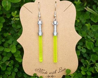 Green/Yellow Lightsaber Earrings