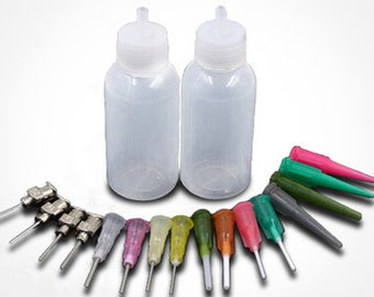 Henna Applicator Kit Bottles for HENNA Jagua InkTattoo Paste, Glue Gel Mehndi, Bottles Combo 2 Bottles, 16 Blunt Tips.