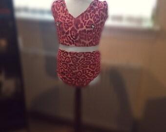 Lycra Leoard Print Bikini Bodysuit