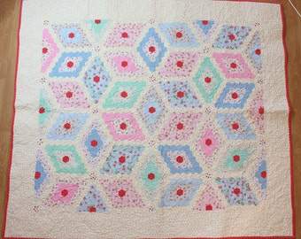 Handmade Shabby Chic Floral Hexagon Quilt featuring Cath Kidston fabrics