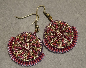 Pink Purple Antique Brass Bead Embroidered Earrings