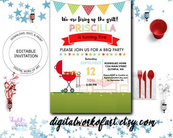 BBQ Party Invitation, Barbecue Party Invitation Template, Barbeque, BBQ, Editable, Printable, Party Invitation, We are Firing Up the Grill,