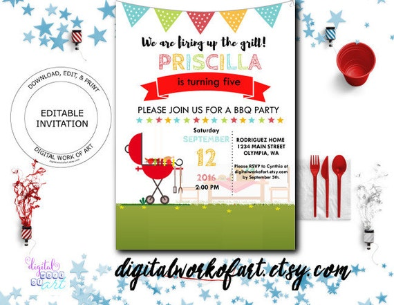 bbq party invitation barbecue party invitation template. Black Bedroom Furniture Sets. Home Design Ideas