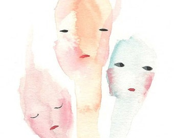 Sisters original painting, three sisters ,strange sisters