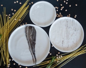 Marble'd Black Dining Plates Set