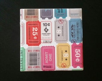 Colorful Ticket Themed Coasters