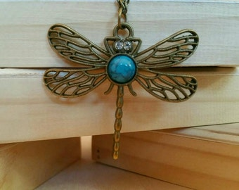 Dragonfly Necklace, Retro style Dragonfly