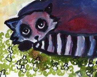 Original Artwork, Raccoon in Clover Patch, painting, watercolor,ink,gesso,8x10