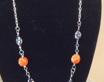 Silver and Glass bead necklace.